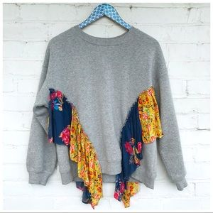 Free People She's Just Cute Boho Ruffle Pullover